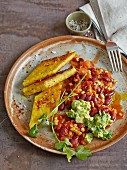Chilli sin carne with polenta diamonds and guacamole