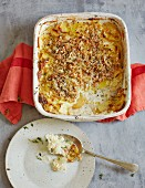 Potato gratin with sauerkraut and apples