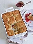 Buckwheat Buchteln (baked, sweet yeast dumplings) with cranberry sauce