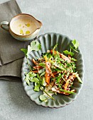 Quinoa salad with herbs and a miso tofu dressing