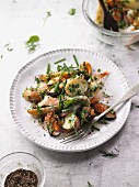 Potato salad with mussels, prawns and fresh herbs