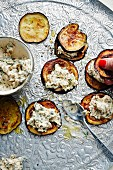 Fried aubergines topped with a soft cheese and walnut cream (Turkey)