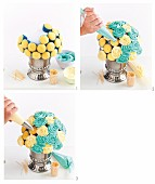 Einen blau-weissen Cupcake-Strauss herstellen
