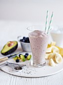 Nourishing smoothie with avocado, bananas and chia seeds