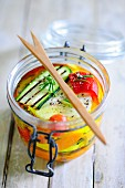Pickled cheese with grilled vegetables