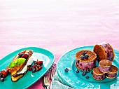 Blueberry ice cream sandwiches and French toast with rice pudding and a berry and mint salad