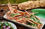 Lobster with parsley sauce and bread