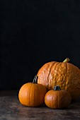Three pumpkins of various sizes against a dark background