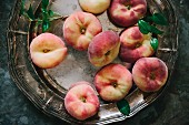 Vineyard peaches on a silver plate