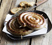 Homemade South African spiral sausages