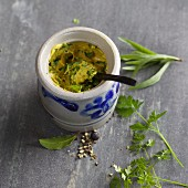 Homemade herb mustard with tarragon