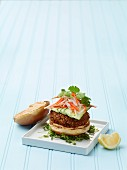 Crispy shrimp burgers with cucumber