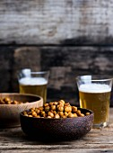 Oven-roasted chickpeas and beer