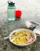 Risotto with smoked fish and dried mushrooms for camping