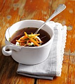 Meat broth with julienned vegetables