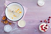 Sweet cream dishes (seen from above)