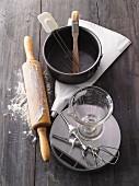 An arrangement of various baking utensils