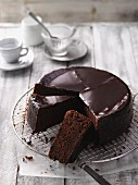 Viennese Sachertorte, sliced