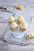 Gluten-free lemon cupcakes topped with cream cheese frosting