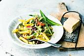 Pasta with green asparagus salsa and wild garlic