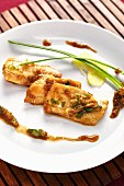 Hake fillet with soy sauce and honey