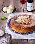 Pear and cinnamon cake with ginger and lemon verbena ice cream
