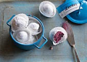 Blueberry truffles with icing sugar