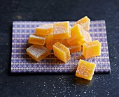Sugared, jellied apricot cubes