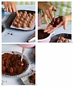 Dark truffles being made