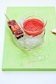 Watermelon and rose gazpacho with tuna fish tataki in pink pepper caramel