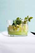 Scallop and vanilla ceviche with avocado and coconut jelly in a glass