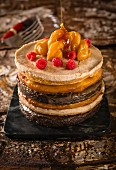Malva Pudding, kombiniert mit Koeksisters