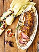 Sirloin-Rinderbraten mit Mais-Bacon-Kruste und Chili-Senf-Gelee mit Mais (Afrika)