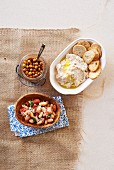 Bean salad, hummus and chickpeas