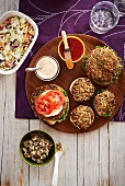 Vegetarian burgers and side dishes