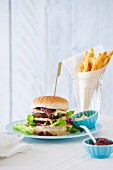 Portobello burger with brie cheese and cranberry chutney
