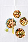 Asian noodle soup with shiitake and shrimp