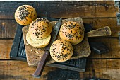 Homemade burger buns with curry and black sesame seeds