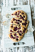 Focaccia with red grapes and rosemary