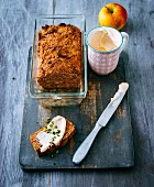 Gluten-free apple bread with a sea buckthorn quark spread