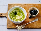 Gluten-free courgette cream with sheep's cheese and black olives