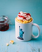 A New York cheesecake-style mug cake