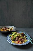 Beef strips with broccoli and wholemeal pasta