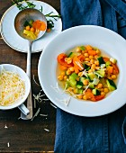 Gluten-free minestrone with chickpeas and Parmesan cheese