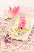 Goat's cream cheese terrine with tulip petals