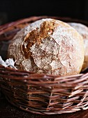 Country bread in a wicker basket
