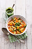 Italian minestrone with pesto
