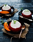 Quark cream in blood orange jelly