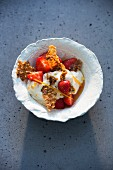 Strawberries marinated in rose water with Cassata cream and pistachio and sesame not brittle