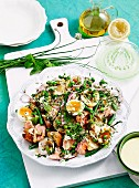Salmon nicoise with olive oil mayo
